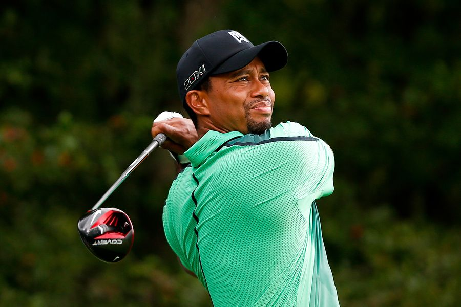 NORTON, MA-SEP 1: Tiger Woods tees off the fourth hole during th