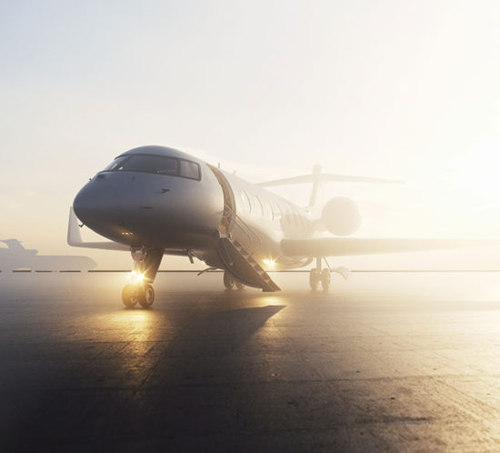 Private jet during sunrise